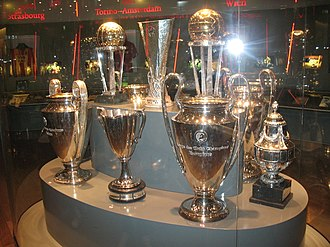History of AFC Ajax - Several of Ajax' international trophies, including the Champions League and Intercontinental Cup trophies.