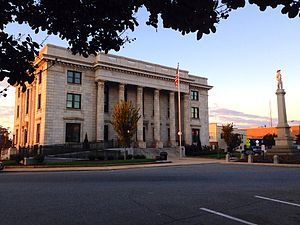 National Register of Historic Places listings in Alamance County, North Carolina - Image: Alamance County Courthouse and Confederate Memorial from NE Corner