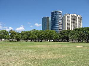 Ala Moana -  New high rise buildings tower over Ala Moana Beach Park.