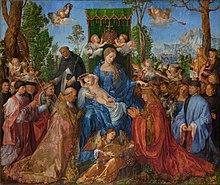 Tableau représentant de nombreux personnages dont une femme en bleu, au centre de l'image, tenant un enfant dans ses bras. Les autres personnages l'entourent voire sont à ses pieds. La scène est survolée par quatre anges.
