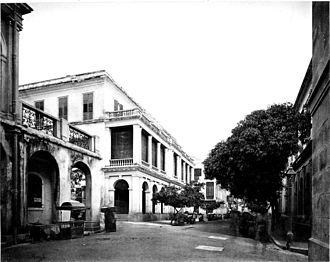 Hong Kong Club - Hong Kong Club c. 1873 at the corner of Wyndham Street and Queen's Road.