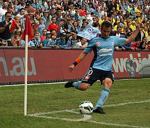 Corner kick - Alessandro Del Piero taking a corner kick for Sydney FC.
