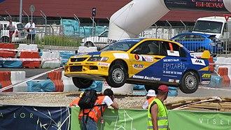 Alex Fiorio - Fiorio driving a Mitsubishi Lancer Evolution at the Transilvania Rally Show in 2008.