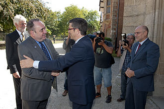 Alex Salmond - Salmond (left) is greeted during an official visit to Spain, 2011