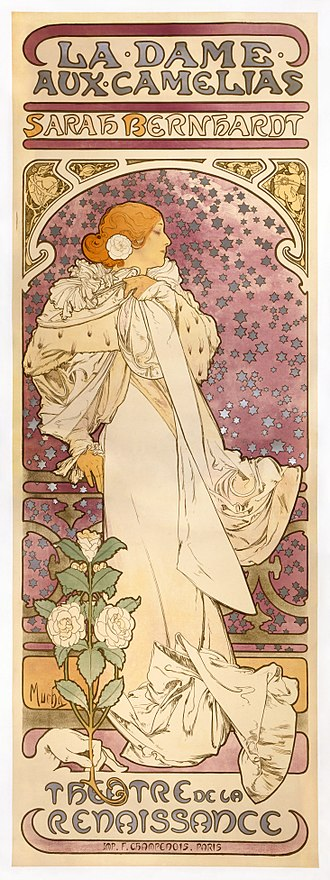 La Dame aux Camélias - Alphonse Mucha's poster for a performance of the theatrical version, with Sarah Bernhardt (1896)