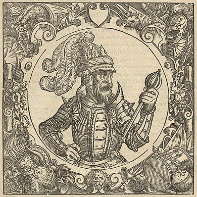 16th-century image of Algirdas, one of the great rulers of 14th-century Europe Algierd. Al'gerd (A. Guagnini, 1578).jpg
