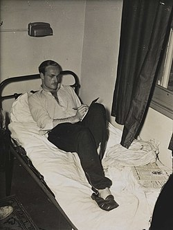 Alistair McCorquodale in the Olympic Village, London 1948.jpg
