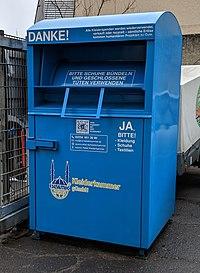 Altkleider-Container, Islamic Relief Kleiderkammer, Farbe: blau