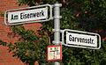 Am Eisenwerk Garvensstraße, Straßenschild in Hannover-Wülfel.JPG