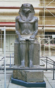 Sitting statue attributed to Amenemhat II, later usurped by 19th Dynasty pharaohs. Berlin, Pergamon Museum
