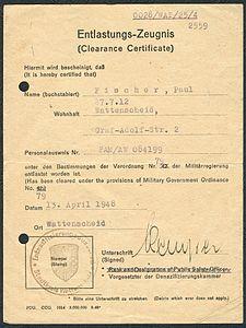 Amtsdokument Paul Fischer 1948 Zivilist Entlastungs-Zeugnis Clearance Certificate Entnazifizierungsausschuß Stadtkreis Wattenscheid.jpg