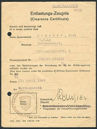 Denazification - A 1948 denazification clearance certificate from Wattenscheid in the British Zone.