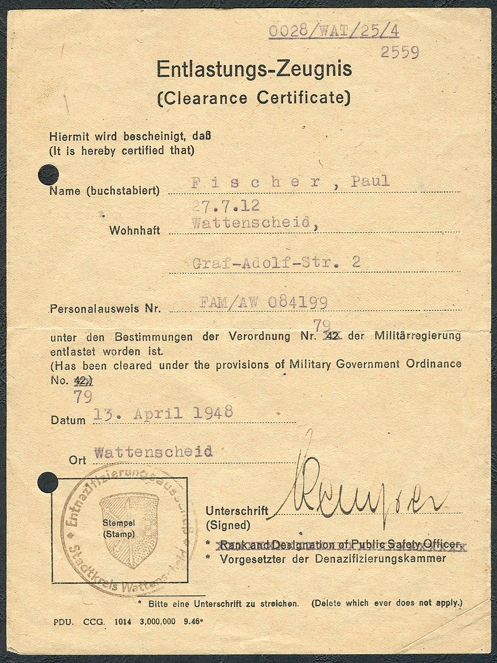 Amtsdokument Paul Fischer 1948 Zivilist Entlastungs-Zeugnis Clearance Certificate Entnazifizierungsausschuß Stadtkreis Wattenscheid