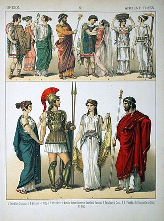 Greek dress - Ancient Greeks depicted in variety of different costumes.