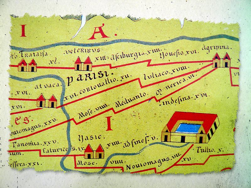 Andesina presented on the famous Peutinger map, Roman Grand (Andesina), France