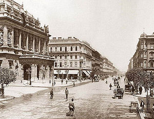 Andrássy út - Andrássy Avenue with the Hungarian State Opera House (left side), 1896.
