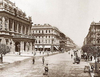 Hungarian State Opera House - The Opera House is on the left in this view of 1896.
