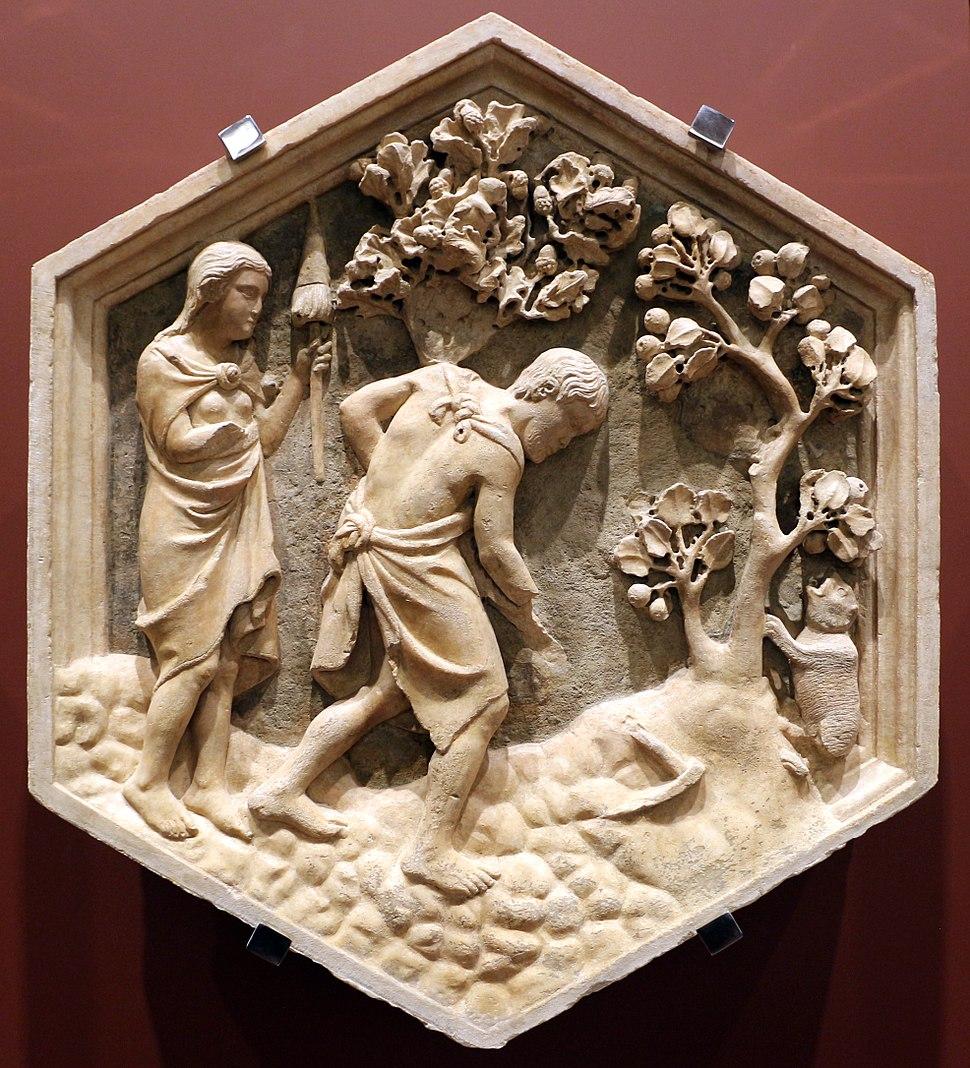 Andrea pisano, lavoro di adamo ed eva, 1334-43, dal lato ovest del campanile 01