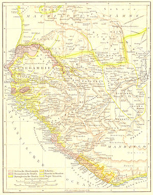 "Louis Brière de l'Isle - Senegambia in 1881, at the end of Briere de l'Isles tenure. Areas in pink are annexed to the French Empire, while much of the surrounding territory are French ""protectorates""."