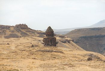 The church of St. Gregory  of the Abughamrents and the citadel in the ruins of Ani.