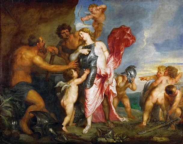 An image of Thetis receiving armour for her son Achielles, made by Hephaestus, perhaps the best known of the blacksmith gods.