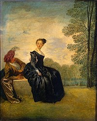 """La Boudeuse from the Hermitage Museum: """"Flirting coquettishly yet innocently, the artist's imaginary heroes - the deliberately indifferent lady and her insistently attentive cavalier - are shown with gentle irony. Their fragile, elegant world is dominated by a lyrical mood with just a touch of elegiac melancholy.""""[1]."""