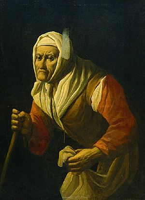 Antonio Cifrondi - Old woman with cane
