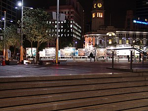 Aotea Square - Aotea Square at night after the refurbishment in 2010.