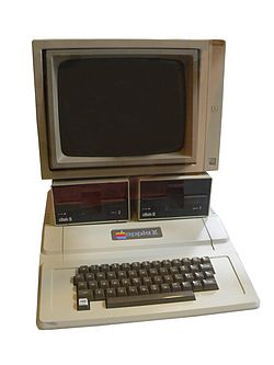 The 1977 Apple II with 2 Disk II disk drives and an Apple monitor