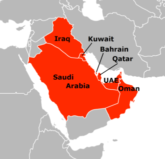 Arab states of the Persian Gulf - The Persian Gulf's coastline skirts seven Arab countries on its western shores and Iran to the east. (Oman's Musandam peninsula meets the Persian gulf at the Strait of Hormuz)