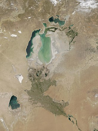 South Aral Sea - Image: Aral sea from space in 2002