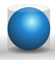 A blue sphere inside a cylinder of the same height and radius