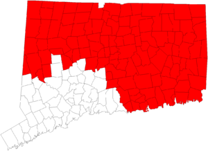 Area codes 860 and 959 - Connecticut state map with Area code 860 in Red