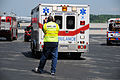Area first responders arrive at the 105th Airlift Wing's hangar during the National Disaster Medical System (NDMS) exercise Golden Eagle III at Stewart Air National Guard Base in Newburgh, N.Y., June 1, 2013 130601-Z-GJ424-062.jpg