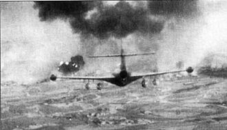 1963 Argentine Navy revolt - A naval F9F Panther attacks the army's 8th armored regiment
