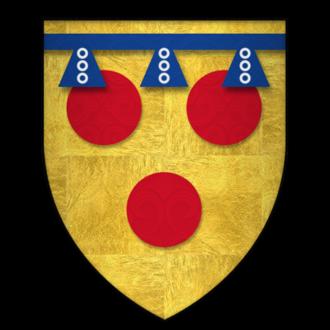 Label (heraldry) - Image: Arms of Sir Hugh de Courtenay, KG