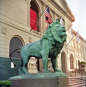 Art Institute of Chicago - One of the two lion statues (Kemeys, bronze 1893) flanking the Institute's main entrances