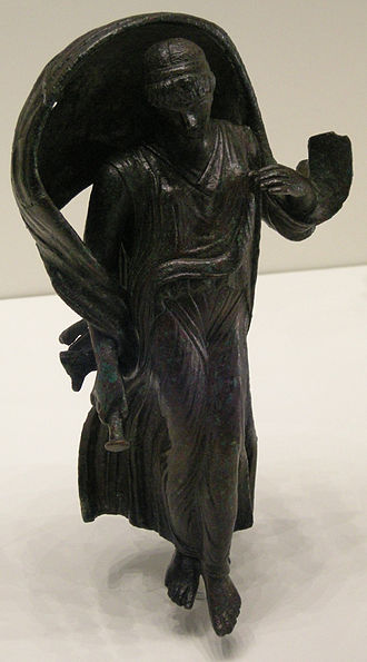 Nyx - Roman-era bronze statuette of Nyx velificans or Selene (Getty Villa)