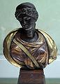 Arte romana con restauri moderni, busto femminile con diadema, I-II sec, busto moderno in legno dipinto.JPG