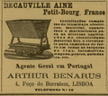 Arthur Benarus, Agente General em Portugal, Decauville Aine, Petit-Bourg, France, 4, Poco do Borratem, Lisboa, Tel N,° 16.png