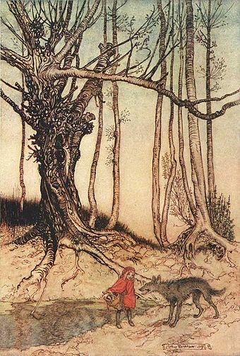 """Little Red Riding Hood"" illustration by Arthur Rackham. Arthur Rackham Little Red Riding Hood+.jpg"