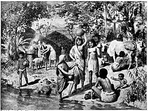Indo-Aryan migration theory - An early 20th century depiction of Aryans settling in agricultural villages in India