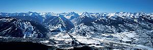Aspen/Snowmass - All four Aspen Snowmass resorts (Aspen Mountain, Aspen Highlands, Buttermilk, and Snowmass) from the air.