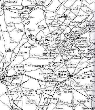 35th Division (United Kingdom) - Aubers Ridge and Festubert, first deployment area of 35th Division