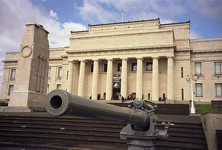 The Auckland War Memorial Museum in New Zealand with the Cenotaph in front AucklandMuseum edit gobeirne.jpg