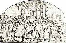 A seventeenth century sketch of a Polish king looking over his audience, from the perspective of behind the audience.