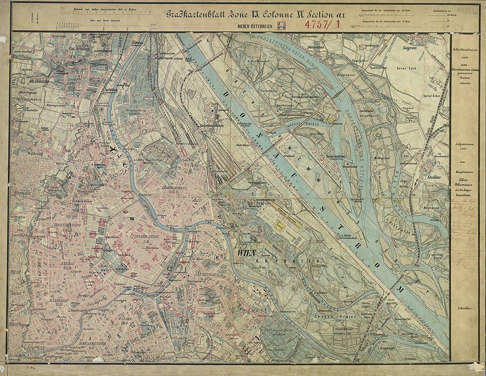Aufnahmeblatt 4757-1-a 1875 Wien Innenstadt