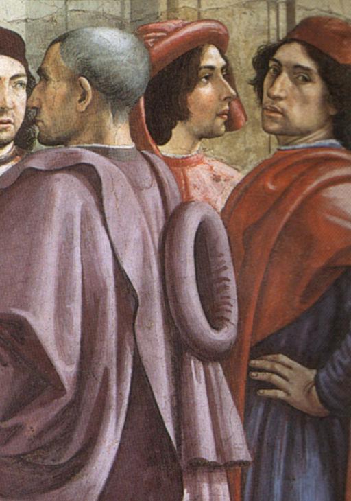 Cappella Sassetti,Resurrezione del fanciullo, da sinistra David Ghirlandaio, Sebastiano Mainardi e Domenico Ghirlandaio