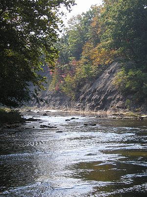 Huron River (Ohio) - An early autumn scene of the west branch of the Huron River, near the towns of Milan, Monroeville, and Norwalk in north central Ohio.