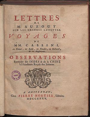 Adrien Auzout - Lettres sur les grandes lunettes, 1735